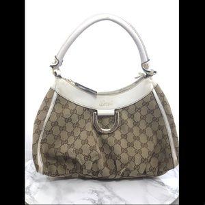 Gucci Vintage Signature Tan White Medium Handbag
